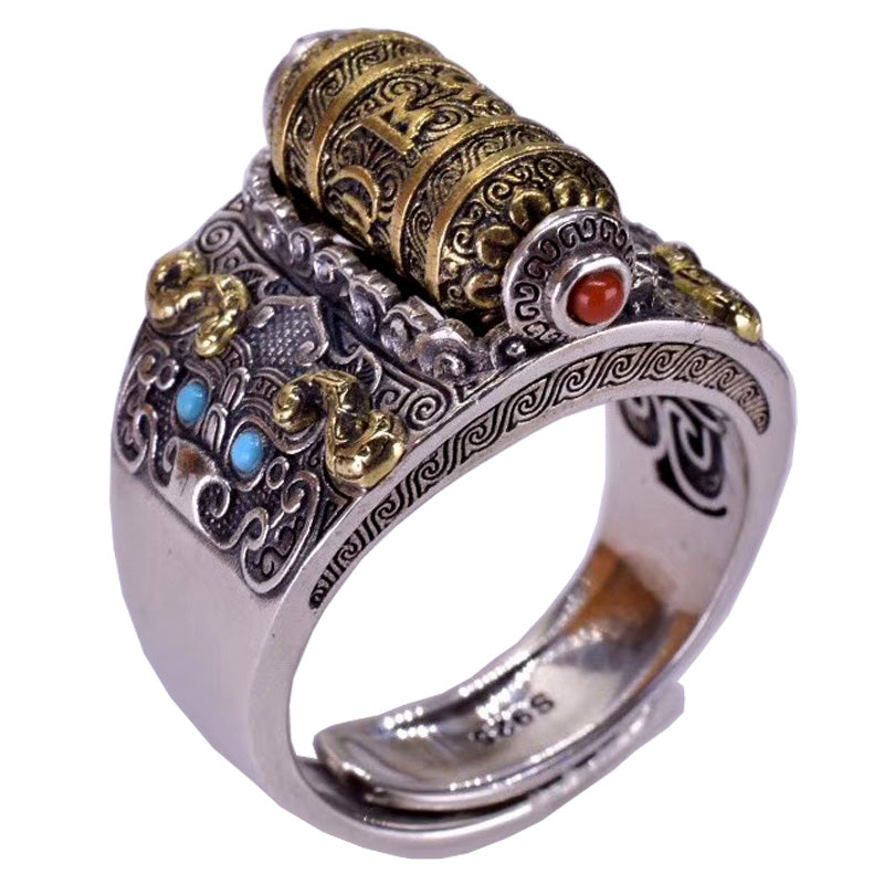 Tibetan Prayer Wheel Ring - Holy Buyble