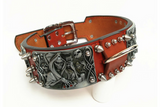 Grim Reaper Studded Leather Dog Collar - Holy Buyble