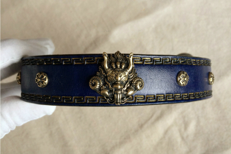 La Bretagna Italian Leather Dragon Dog Collar - Holy Buyble