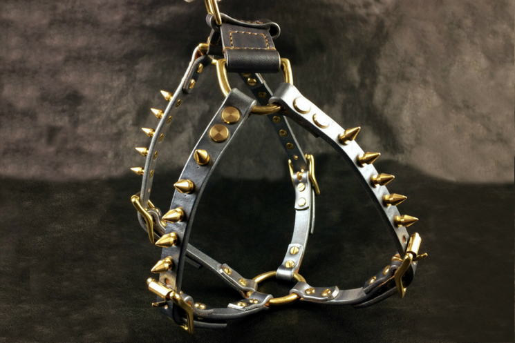 La Bretagna Italian Leather Spiked Dog Harness - Holy Buyble