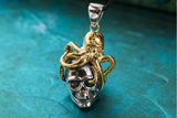 Silver Skull & 18K Gold Plated Octopus Pendant Necklace - Holy Buyble