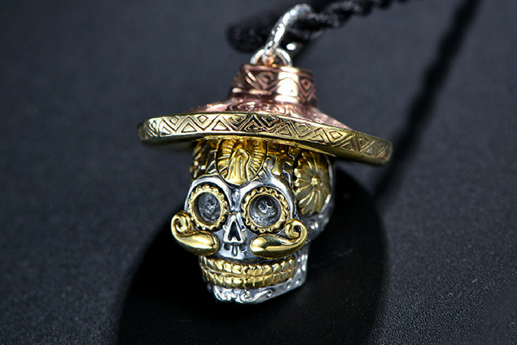 Handcrafted sterling silver mexican sugar skull pendant holy buyble handcrafted sterling silver mexican sugar skull pendant mozeypictures Choice Image