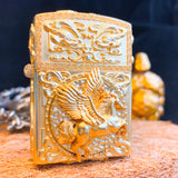 Golden Flying Horse Custom Zippo Lighter Case - Holy Buyble