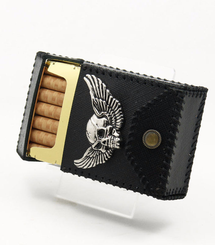 Winged Skull Leather Cigarette Case - Holy Buyble
