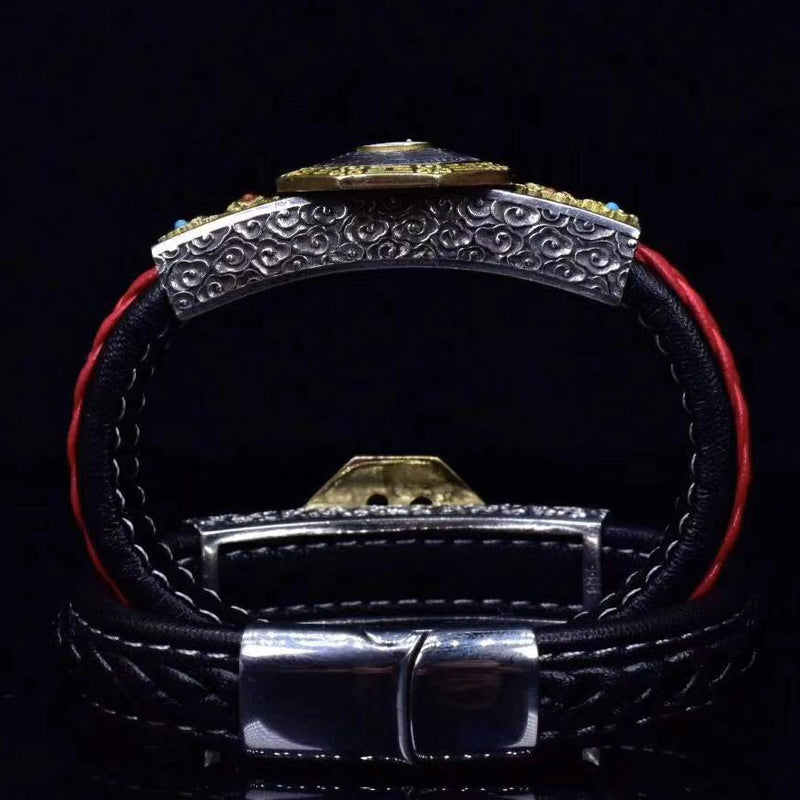 Four Symbols Spinning Yin Yang Wheel Leather Bracelet - Holy Buyble