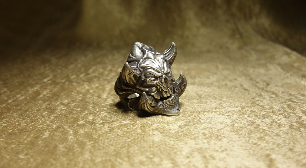 Horned Diablo Skull Ring - Holy Buyble