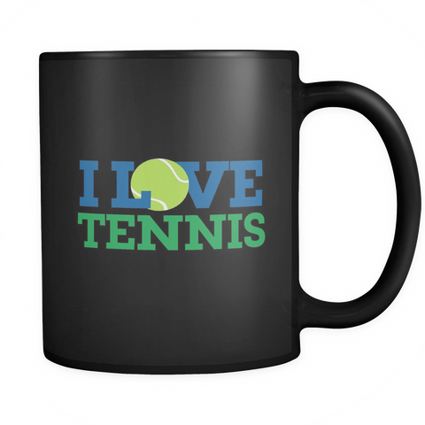 I Love Tennis Mug (Black)