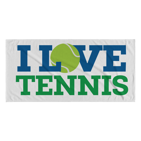 I Love Tennis Beach Towel
