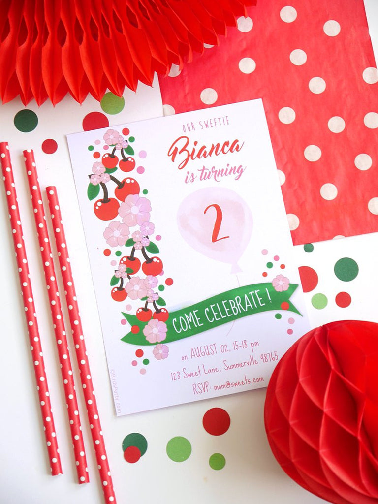 Cerises Pique-Nique Party Invitations Printables | BirdsParty.fr