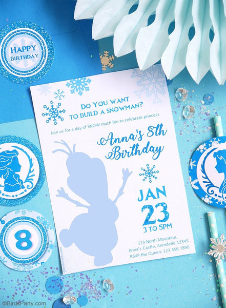 Princesse des Neiges Invitations Anniversaire Printables | BirdsParty.fr
