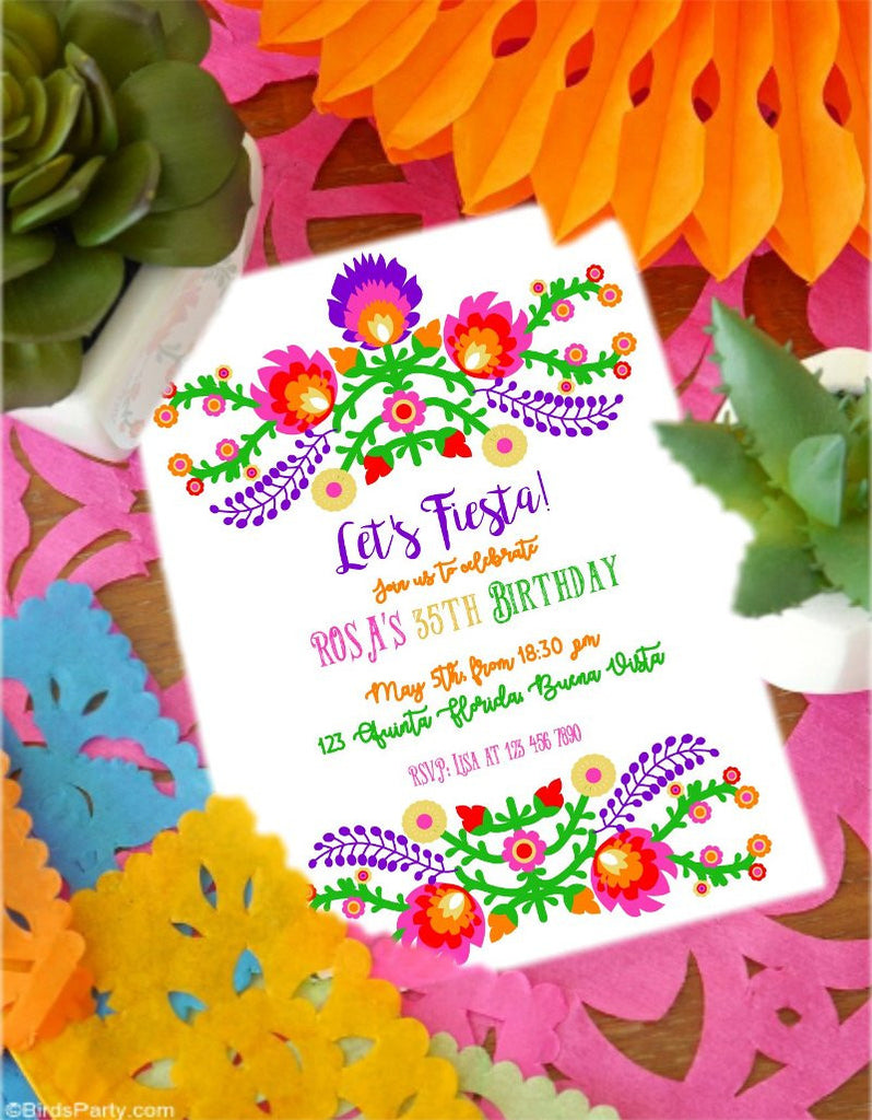 Fiesta Mexicaine Invitations Faire-Parts Printables | BirdsParty.fr