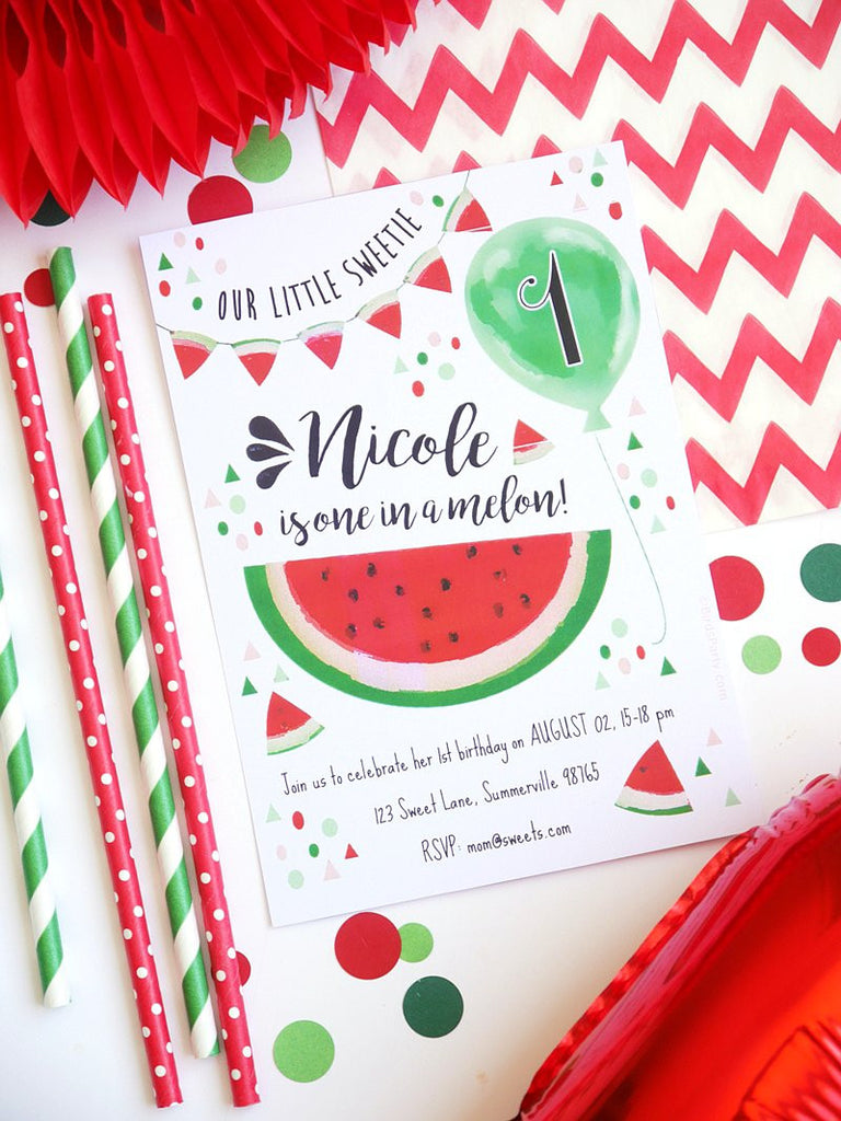 Pastèque Invitations Printables | BirdsParty.fr