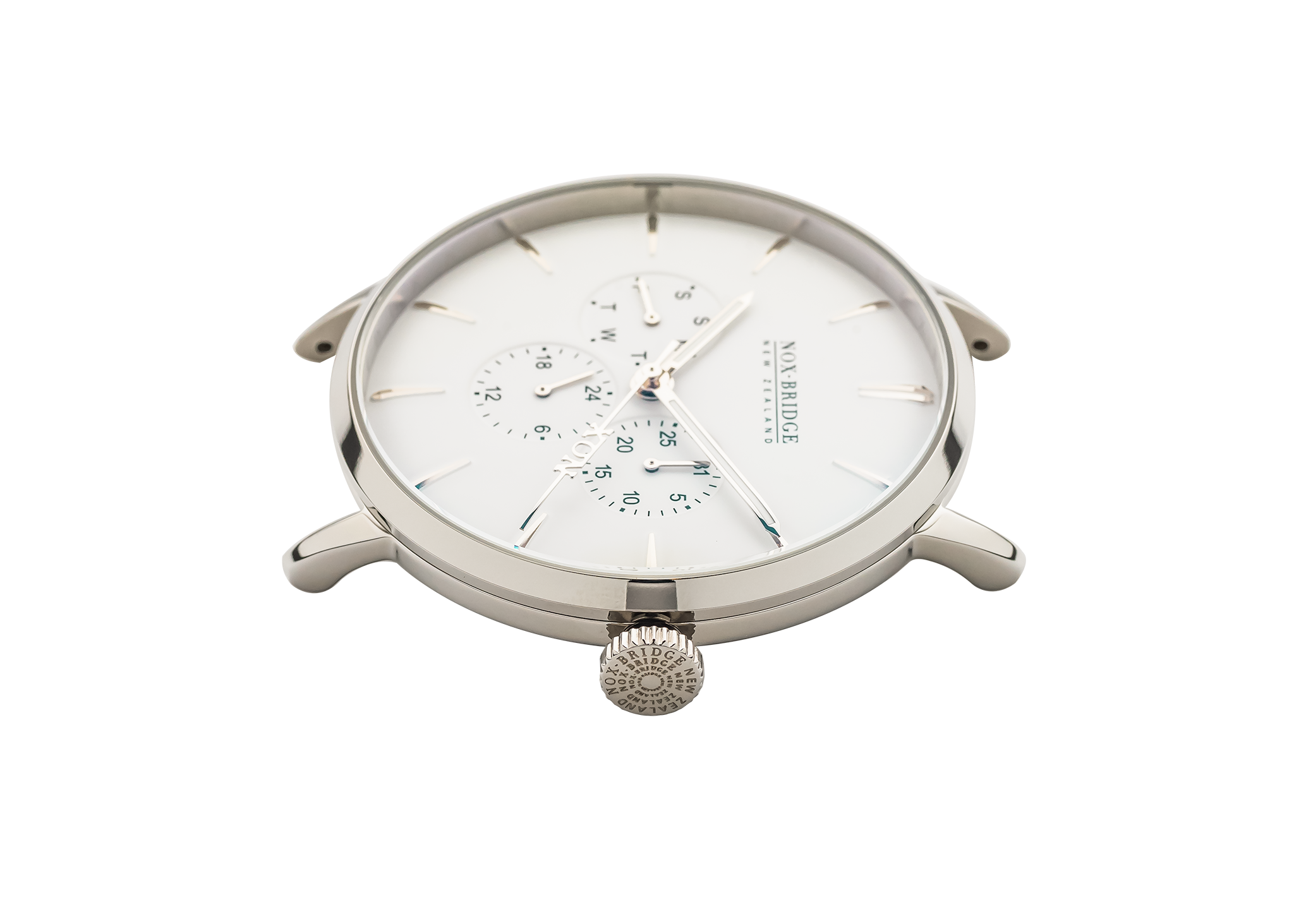 NOX-BRIDGE Classic Meissa Vegan White Leather Strap White Dial 36MM Silver Watch