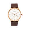 NOX-BRIDGE Classic Izar Vegan Brown Leather Strap White Dial 41MM Rose Gold Watch