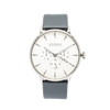 NOX-BRIDGE Classic Alcyone Vegan Grey Leather Strap White Dial 41MM Silver Watch