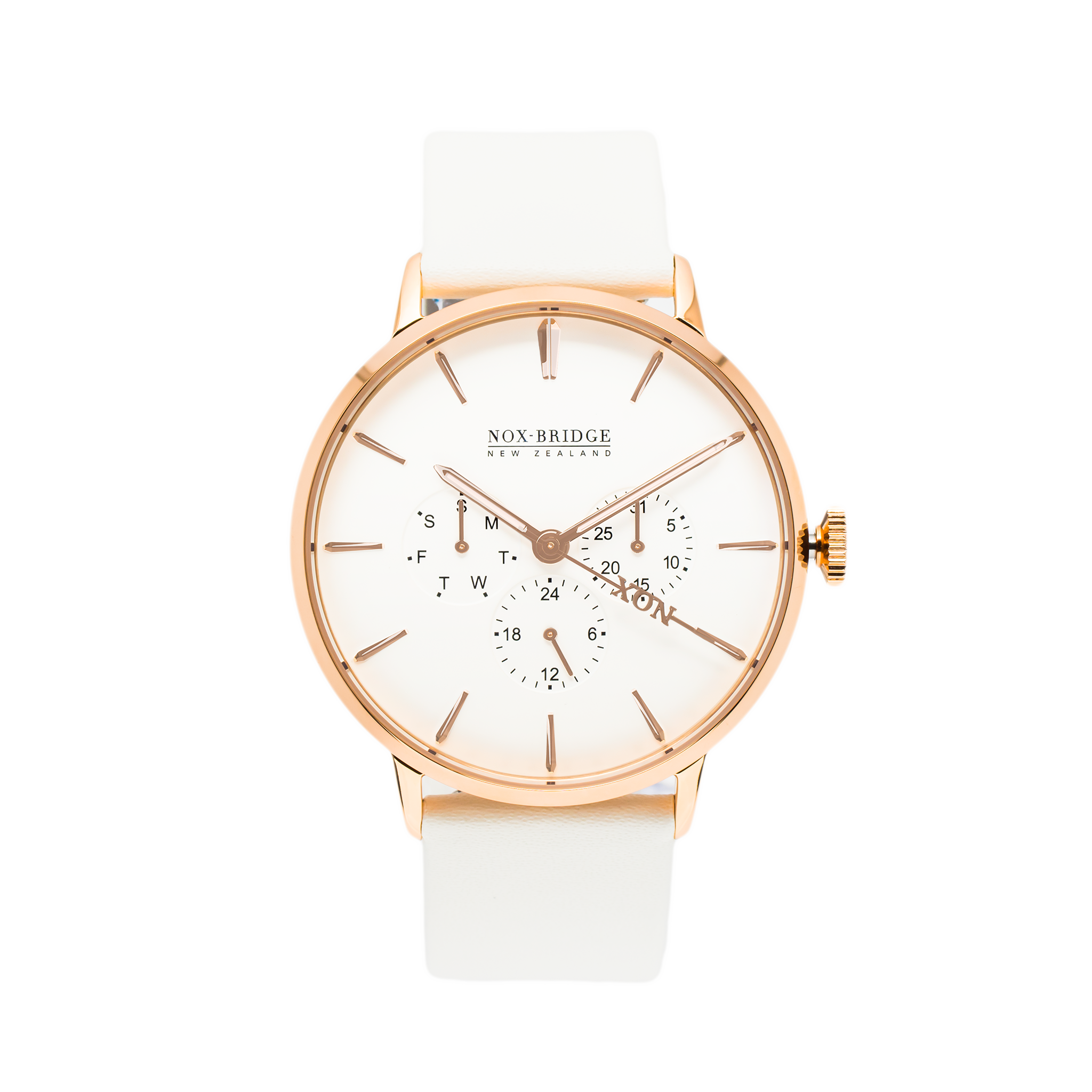 NOX-BRIDGE Classic Meissa Vegan White Leather Strap 41MM Rose Gold Watch