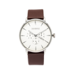 NOX-BRIDGE Classic Izar Vegan Brown Leather Strap White Dial 41MM Silver Watch