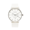 NOX-BRIDGE Classic Meissa Vegan White Leather Strap White Dial 41MM Silver Watch