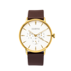 NOX-BRIDGE Classic Izar Vegan Brown Leather Strap White Dial 41MM Gold Watch