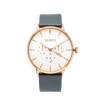 NOX-BRIDGE Classic Alcyone Vegan Grey Leather Strap White Dial 41MM Rose Gold Watch