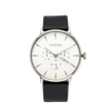 NOX-BRIDGE Classic Capella Vegan Black Leather Strap White Dial 41MM Silver Watch
