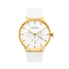 NOX-BRIDGE Classic Meissa Vegan White Leather Strap White Dial 41MM Gold Watch