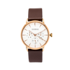 NOX-BRIDGE Classic Izar Vegan Brown Leather Strap White Dial 36MM Rose Gold Watch