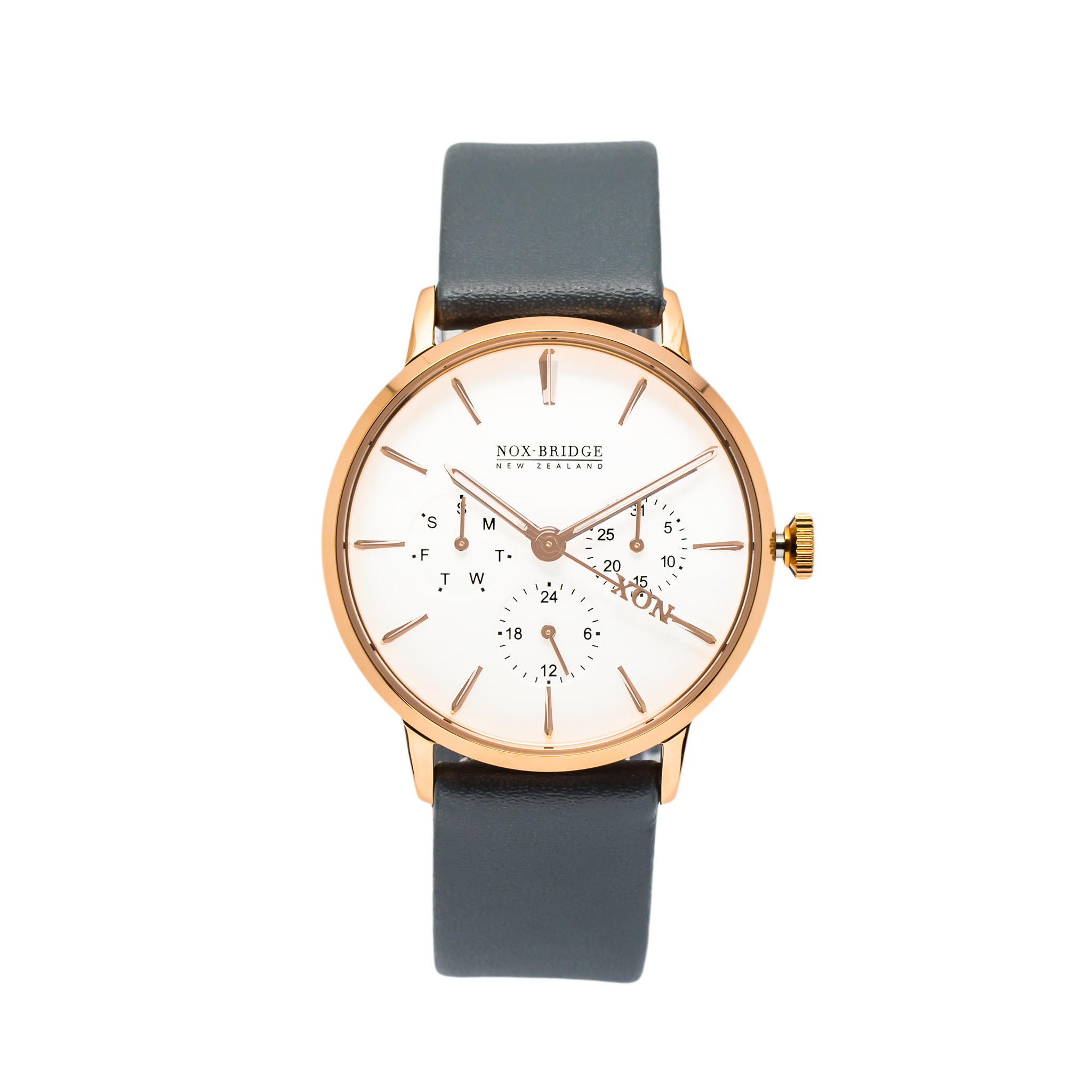 NOX-BRIDGE Classic Alcyone Vegan Grey Leather Strap White Dial 36MM Rose Gold Watch