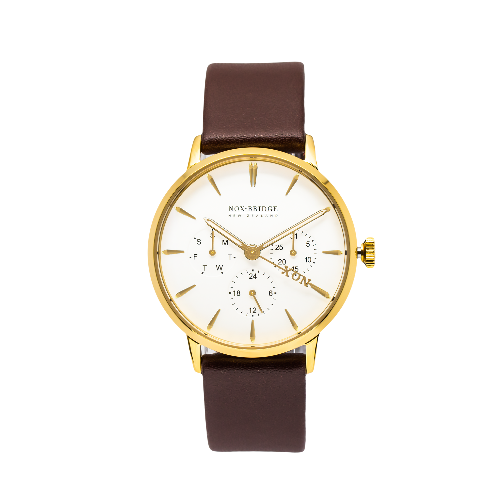 NOX-BRIDGE Classic Izar Vegan Brown Leather Strap White Dial 36MM Gold Watch