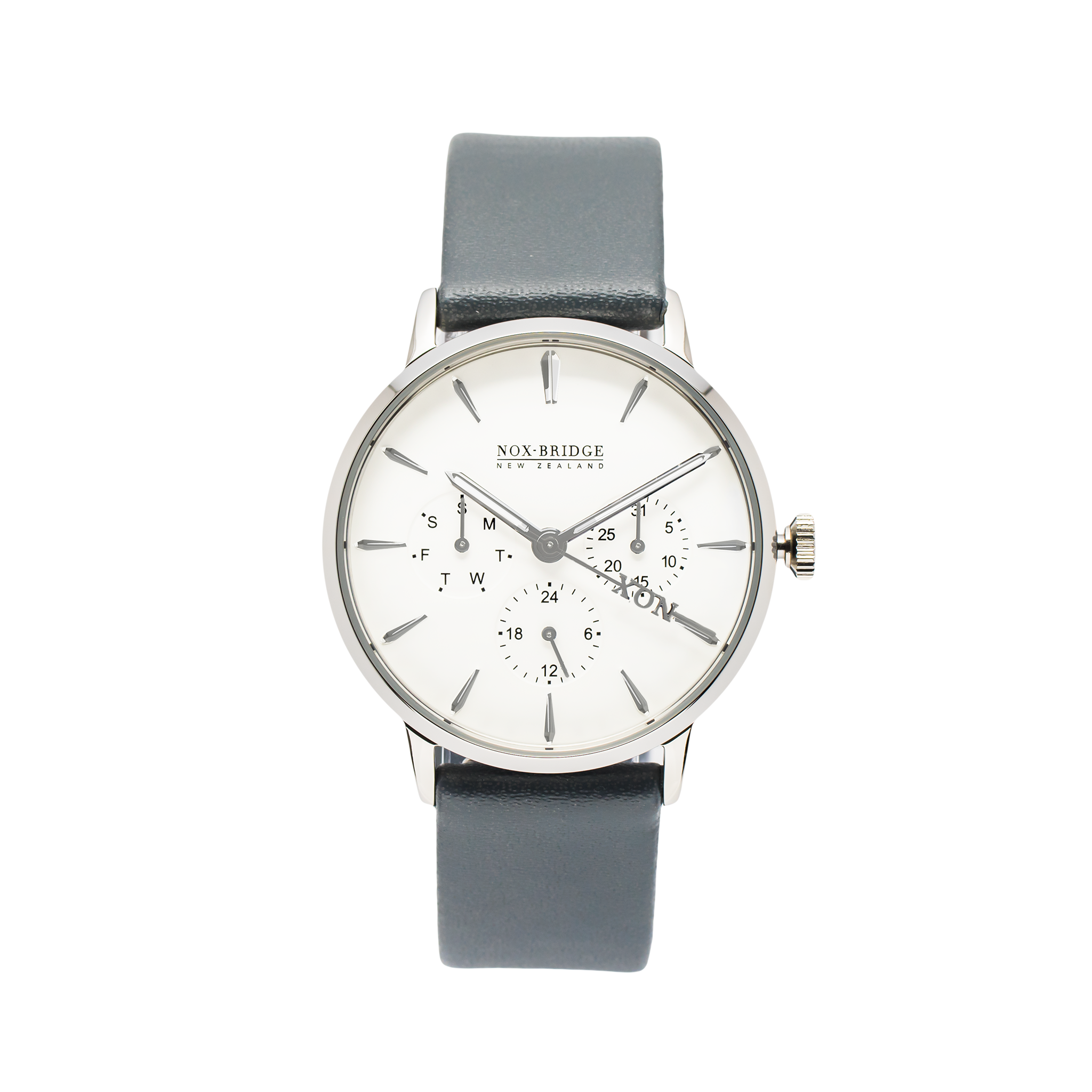 NOX-BRIDGE Classic Alcyone Vegan Grey Leather Strap White Dial 36MM Silver Watch