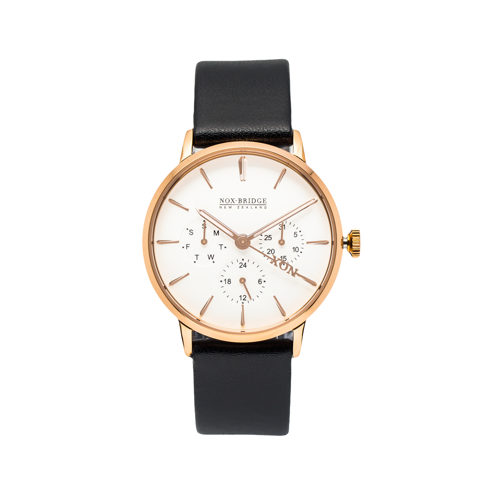 NOX-BRIDGE Classic Capella Vegan Black Leather Strap White Dial 36MM Rose Gold Watch