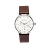 NOX-BRIDGE Classic Izar Vegan Brown Leather Strap White Dial 36MM Silver Watch