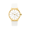 NOX-BRIDGE Classic Meissa Vegan White Leather Strap White Dial 36MM Gold Watch