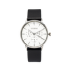 NOX-BRIDGE Classic Capella Vegan Black Leather Strap White Dial 36MM Silver Watch