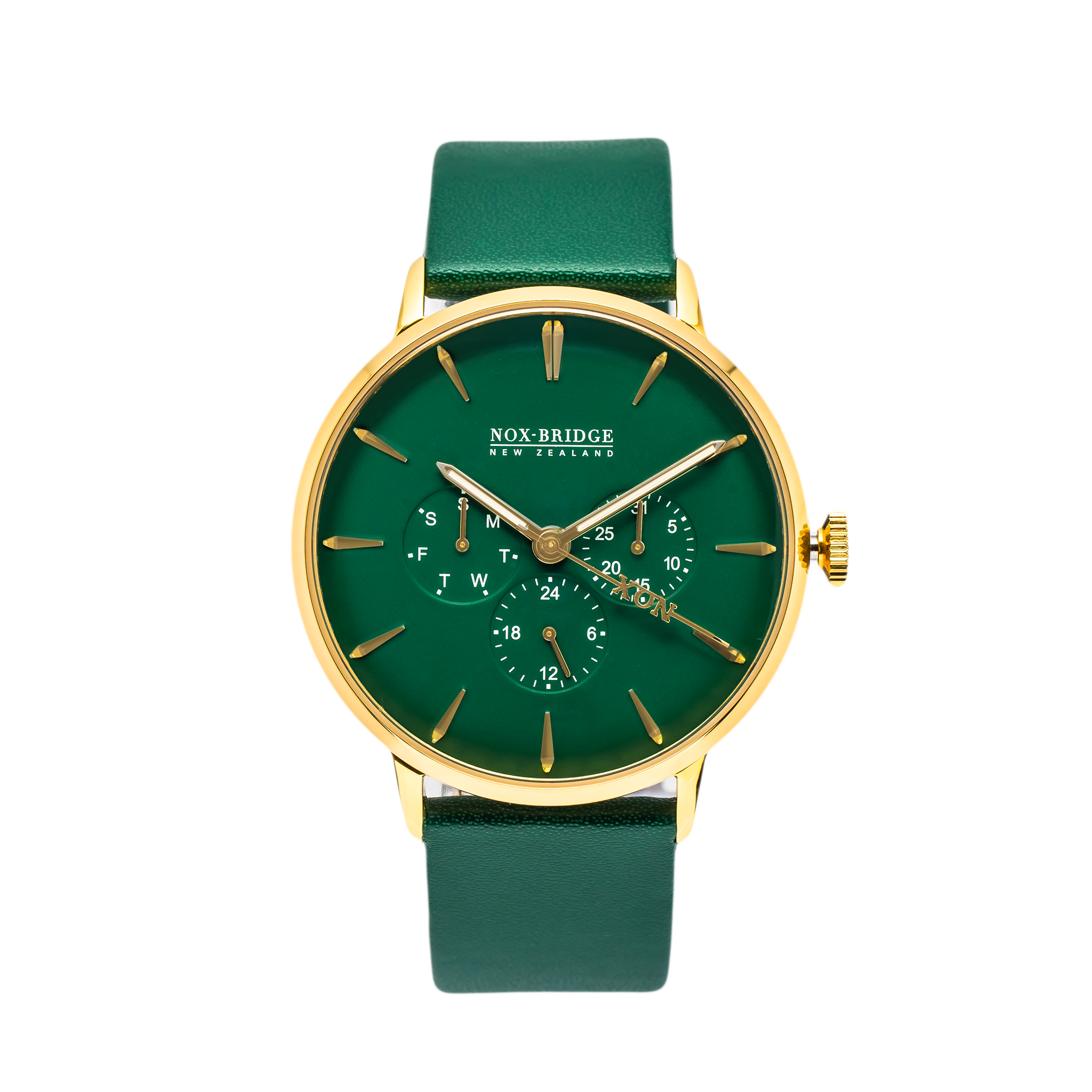 NOX-BRIDGE Classic Vega Viridi Vegan Forest Green Leather Strap Green Dial 41MM Gold Watch