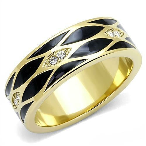 Top Grade Crystals 8-14 Stainless Steel Ring IP Gold Ion Plating Men/'s