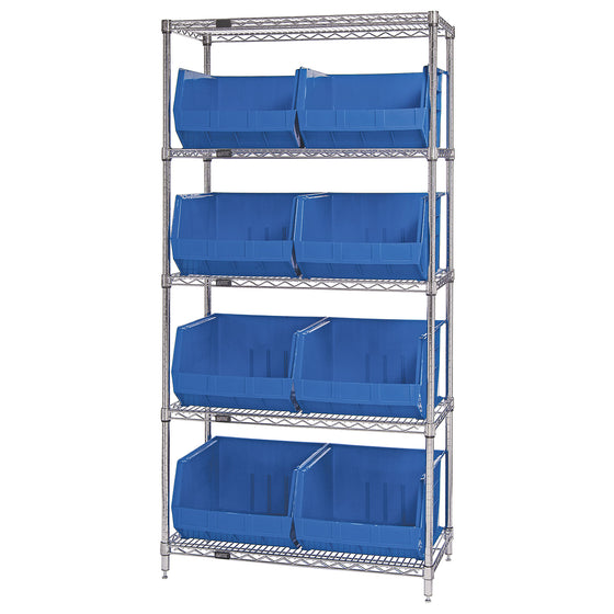 WR5-270 Wire Shelving System with 8 Bins - Blue