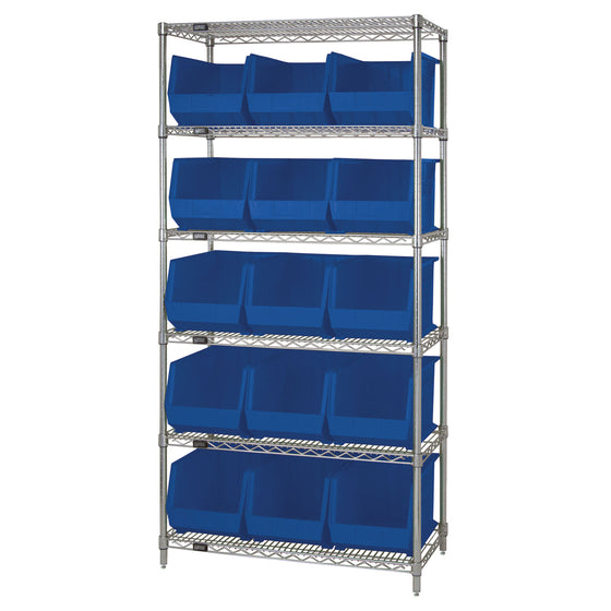 WR6-260 Wire Shelving System with 15 Bins - Blue