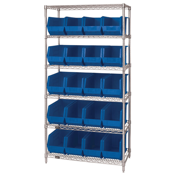 WR6-265 Wire Shelving System with 20 Bins - Blue
