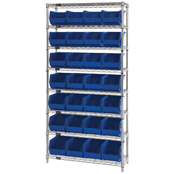 WR8-239 Wire Shelving System with 28 Bins - Blue