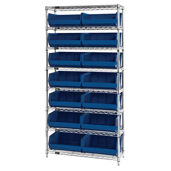 WR8-250 Wire Shelving System with 14 Bins - Blue