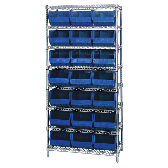 WR8-255 Wire Shelving System with 21 Bins - Blue