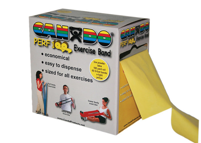 CanDo Low Powder Exercise Band with Perforations - Yellow - X-soft