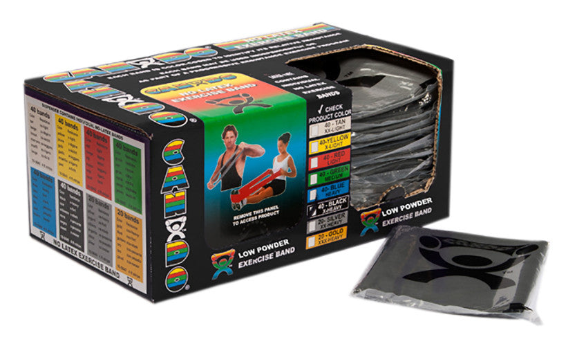 CanDo Light Powder Exercise Band - 4' - Black - X-firm - 40PK