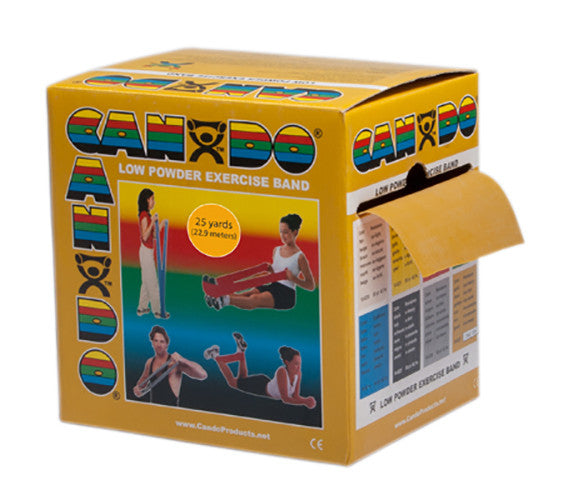 CanDo Light Powder Exercise Band - 25yd - Gold - XXX-firm