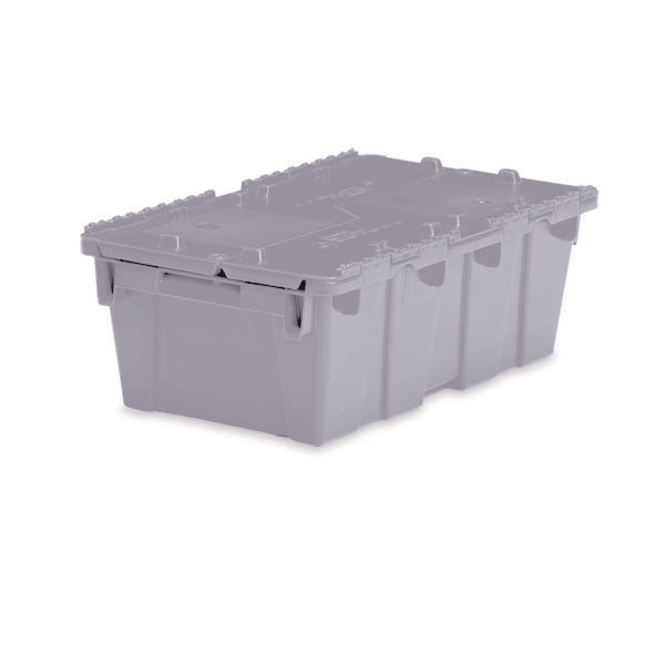 "Lockable Storage Totes - Medium - 19.7""L x 11.8"" W x 7.3""H - Gray"