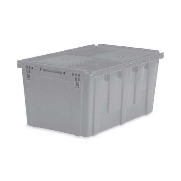 "Lockable Storage Totes - Extra Large - 26.9""L x 17""W x 12.6""H - Gray"