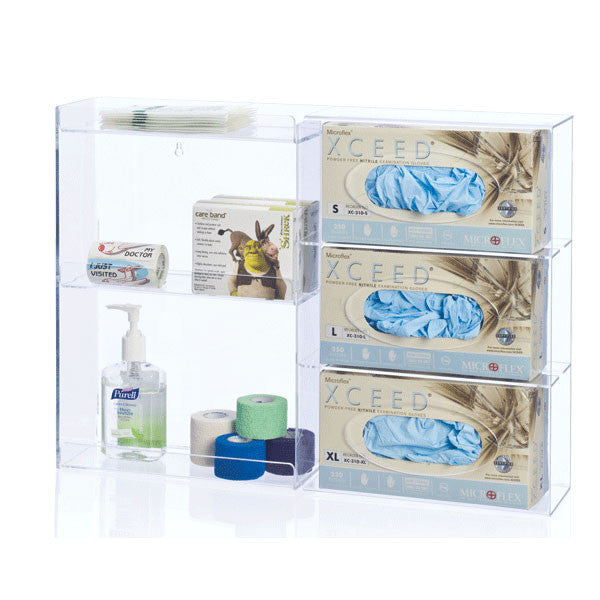 Triple Glove Box Holder with Shelves - Clear