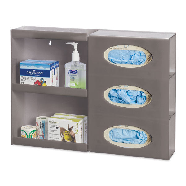 Triple Glove Box Holder with Shelves - Dark Grey