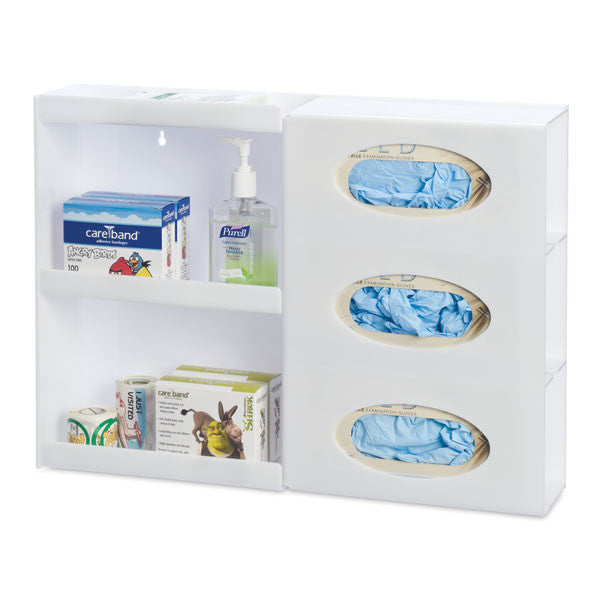 Triple Glove Box Holder with Shelves - White